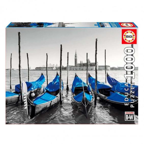 Puzzle Gondolas En Venecia Coloured Black & White 1000 Piezas