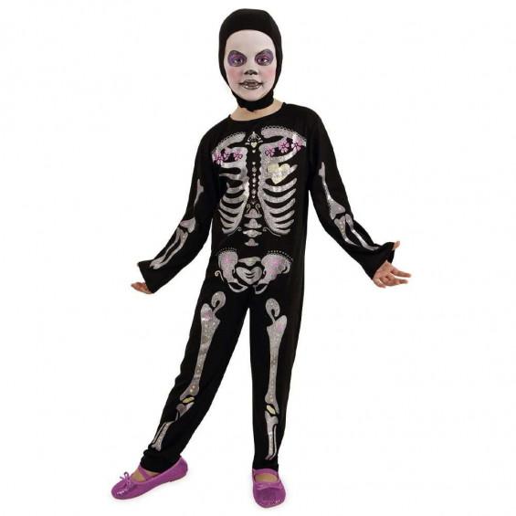 Disfraz Esquelita Purpurina Talla 3-4 Años