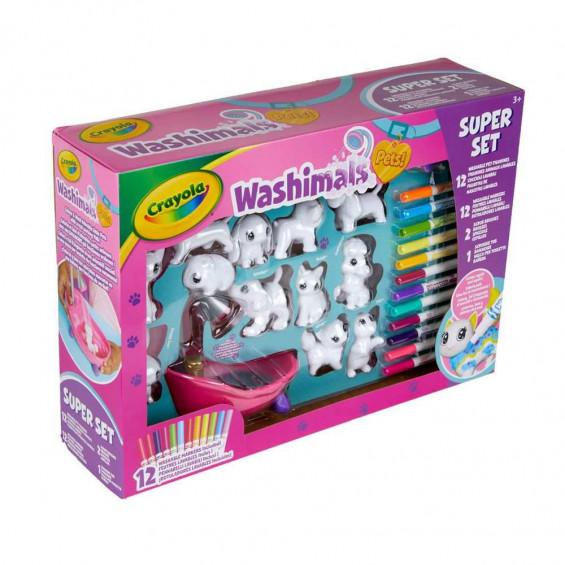 Crayola Washimals Súper Set 12 Mascotas y Bañera