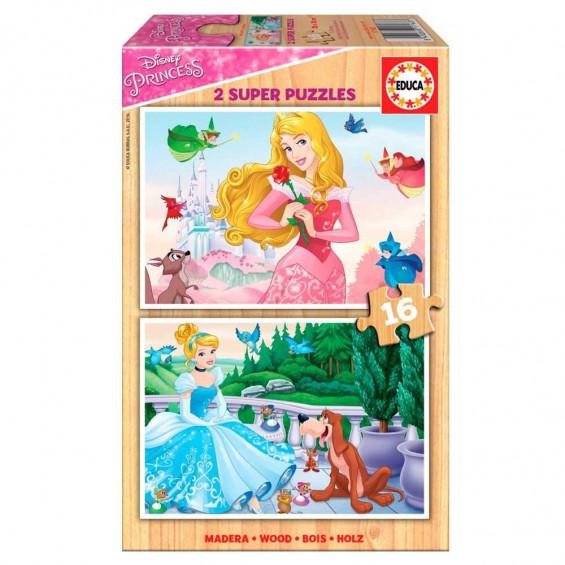 Puzzle Madera 2 x 16 Piezas Disney Princess