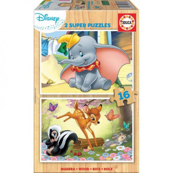 Puzzle Madera 2 x 16 Piezas Disney Animals