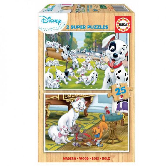 Puzzle Madera 2 x 25 Piezas Disney Animals Dálmatas y Aristogatos