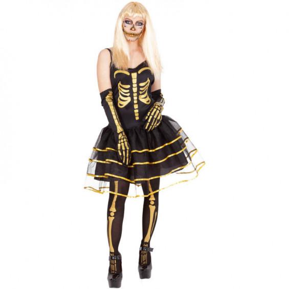 Disfraz Adulto Skelita Gold